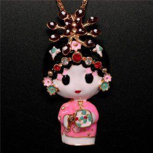 Jewelry - Adorable Dimentional Enamel Geisha Girl Necklace